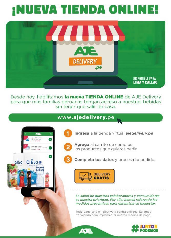 Aje habilita tienda virtual para delivery