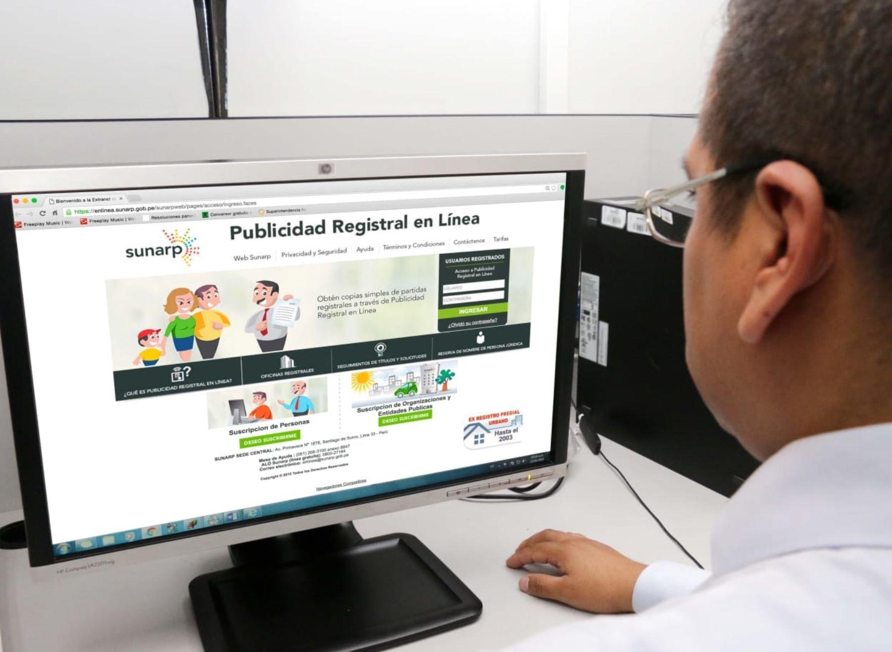 Sunarp: Más trámites se efectuarán vía online
