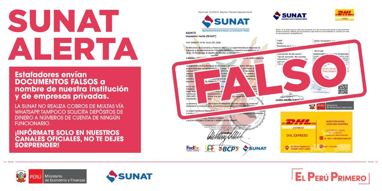 Sunat advierte sobre estafas a importadores